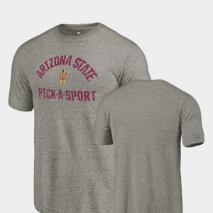 Gray Tri-Blend Distressed For Men's College T-Shirt Pick-A-Sport Arizona State