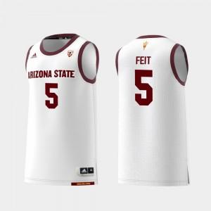 Sun Devils Basketball White Kyle Feit College Jersey Replica #5 For Men's