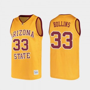 Gold #33 Arizona State University For Men's Alumni Basketball Lionel Hollins College Jersey