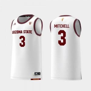 Basketball Mickey Mitchell College Jersey Sun Devils White #3 Replica For Men's