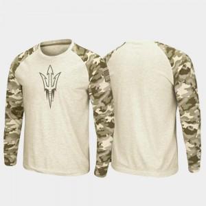 Raglan Long Sleeve Arizona State Sun Devils For Men College T-Shirt Oatmeal OHT Military Appreciation
