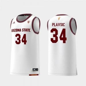 Replica Uros Plavsic College Jersey Men Arizona State Sun Devils Basketball White #34