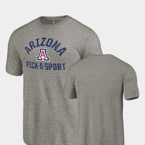 Pick-A-Sport For Men's Gray College T-Shirt Tri-Blend Distressed Arizona