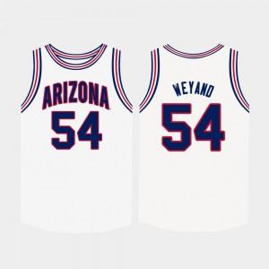 For Men #54 White Basketball University of Arizona Matt Weyand College Jersey