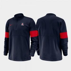 Half-Zip Performance University of Arizona Men College Jacket Navy 2019 Coaches Sideline