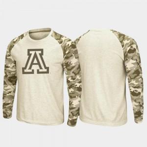 U of A OHT Military Appreciation Raglan Long Sleeve Men's College T-Shirt Oatmeal