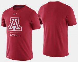 Mens University of Arizona Baseball Dugout Performance College T-Shirt Red