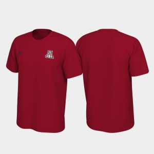 College T-Shirt Legend Wildcats For Men's Left Chest Logo Red