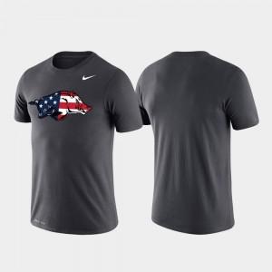 Americana Legend Men's College T-Shirt Arkansas Anthracite Performance