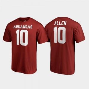 Arkansas Razorbacks Name & Number Cardinal Mens Legends Brandon Allen College T-Shirt #10
