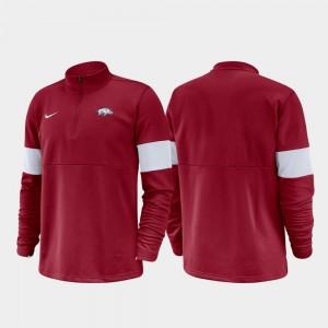 2019 Coaches Sideline For Men University of Arkansas Half-Zip Performance College Jacket Cardinal