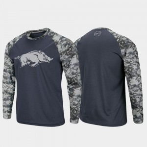 OHT Military Appreciation Men Razorbacks Raglan Long Sleeve Digi Camo Charcoal Camo College T-Shirt