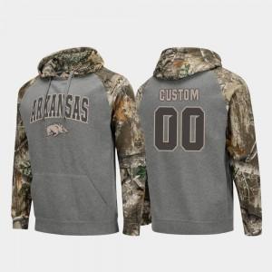 Colosseum Raglan Charcoal #00 For Men's Realtree Camo Arkansas Razorbacks College Customized Hoodie