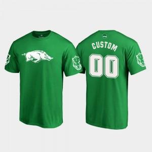 St. Patrick's Day Men Kelly Green White Logo Arkansas Razorbacks #00 College Customized T-Shirt