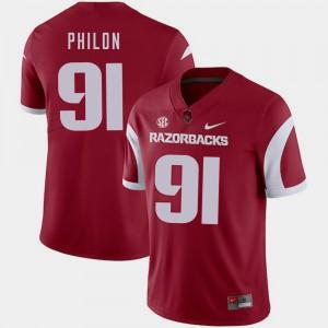 For Men's Darius Philon College Jersey Cardinal #91 Razorbacks Football