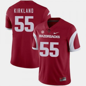 For Men's Cardinal University of Arkansas #55 Denver Kirkland College Jersey Football