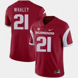 Devwah Whaley College Jersey Football Cardinal Mens Razorbacks #21