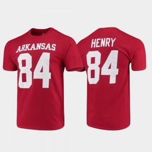 #84 Mens Arkansas Razorbacks Name & Number Cardinal Hunter Henry College T-Shirt Football