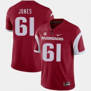 #61 Jerry Jones College Jersey Arkansas Razorbacks Men's Football Cardinal