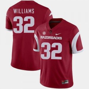 University of Arkansas Football Cardinal For Men #32 Jonathan Williams College Jersey