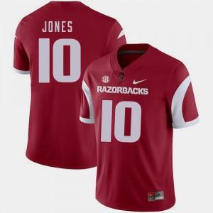 Jordan Jones College Jersey University of Arkansas #10 Football Cardinal Men