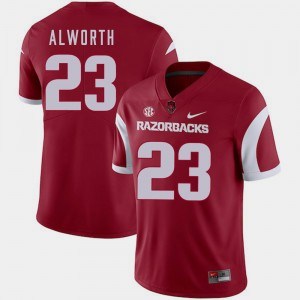 Arkansas Razorbacks Lance Alworth College Jersey Football #23 Cardinal Men's