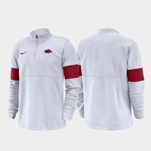 Half-Zip Performance White College Jacket Razorbacks Men's 2019 Coaches Sideline