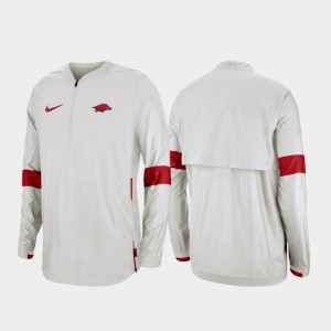Quarter-Zip Men's 2019 Coaches Sideline White Razorbacks College Jacket