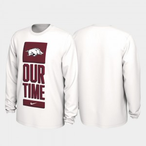 University of Arkansas For Men Our Time Bench Legend White College T-Shirt 2020 March Madness