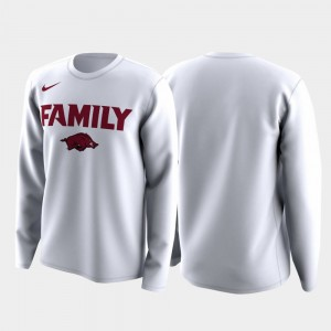 Family on Court For Men White College T-Shirt March Madness Legend Basketball Long Sleeve Arkansas