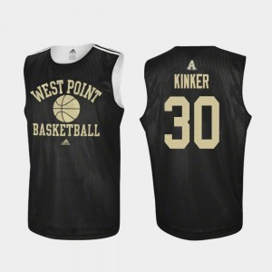 Army West Point Basketball Black Ben Kinker College Jersey Practice #30 For Men's