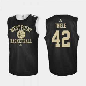 #42 Brendan Thiele College Jersey Black Men Practice Army West Point Basketball