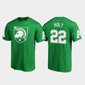 Kelly Green Calen Holt College T-Shirt Army Black Knights #22 Men White Logo St. Patrick's Day