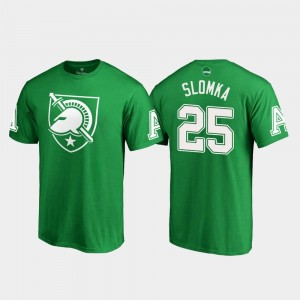 White Logo Connor Slomka College T-Shirt For Men's #25 Kelly Green St. Patrick's Day Army West Point