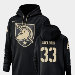 Champ Drive West Point #33 For Men Football Performance Darnell Woolfolk College Hoodie Black
