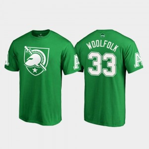 #33 White Logo Kelly Green St. Patrick's Day Darnell Woolfolk College T-Shirt United States Military Academy Men