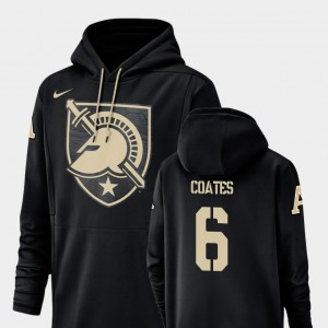 United States Military Academy Black Mens Football Performance #6 Glen Coates College Hoodie Champ Drive