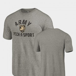 Gray Army Pick-A-Sport Tri-Blend Distressed For Men's College T-Shirt