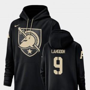 Black Champ Drive Army Black Knights Football Performance #9 Luke Langdon College Hoodie For Men's