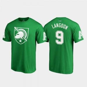 White Logo Kelly Green For Men Luke Langdon College T-Shirt Army #9 St. Patrick's Day