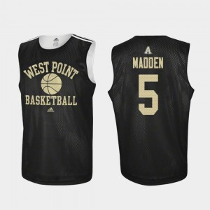 Black #5 Men's Mark Madden College Jersey Army Practice Basketball