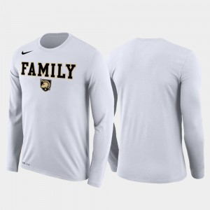 Family on Court March Madness Basketball Performance Long Sleeve College T-Shirt Westpoint Men's White