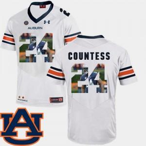 #24 AU White Men's Pictorial Fashion Football Blake Countess College Jersey