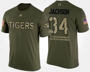 Camo Military Short Sleeve With Message Auburn University #34 For Men's Bo Jackson College T-Shirt