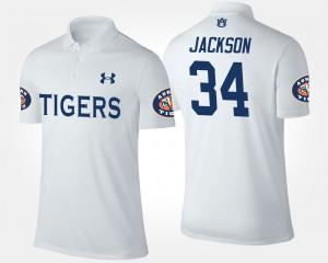 For Men's Auburn University #34 Bo Jackson College Polo White