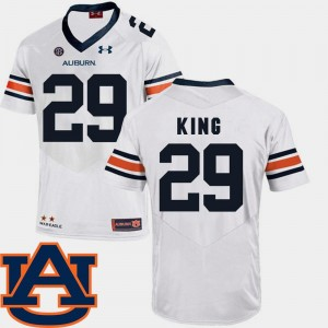 SEC Patch Replica #29 Men's Brandon King College Jersey Auburn University White Football