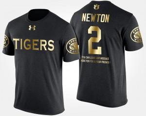Auburn University #2 Gold Limited Cam Newton College T-Shirt Black Short Sleeve With Message Mens