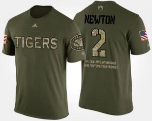 Military #2 Cam Newton College T-Shirt Men's Short Sleeve With Message Auburn Camo