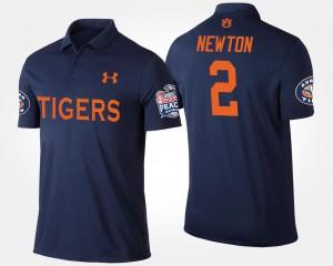 #2 Cam Newton College Polo AU Navy Bowl Game For Men Peach Bowl