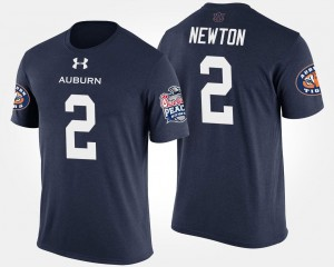 Bowl Game Cam Newton College T-Shirt For Men's AU Peach Bowl Navy #2